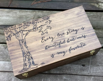 Wedding wine box, Tree wine box, Personalized Double Wine Box, Wedding Card box, wine box ceremony, love letter box, anniversary gift, heart