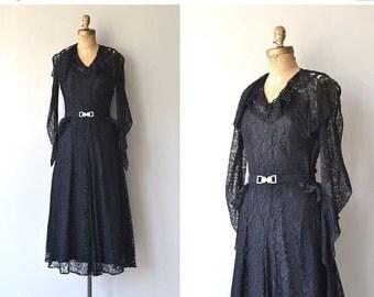 25% OFF.... Night Chrysalis dress   vintage 1930s dress   black lace 30s dress