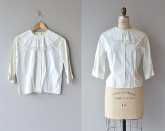 Dora cotton blouse | vintage 1950s blouse | white cotton 50s blouse