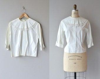 Dora cotton blouse | vintage 1950s blouse | white cotton 50s blouse