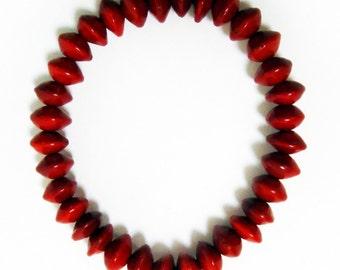 Red Rondel (Red Sandalwood) Large Seed Bracelet