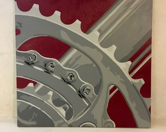 """24"""" x 24"""" Bicycle Gear Painting"""