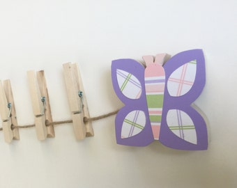 Purple Butterfly Art Display Clips, Lavender Butterfly wall art, Art Display, Art Line, Picture Line, Lavender Nursery, Picture Display,