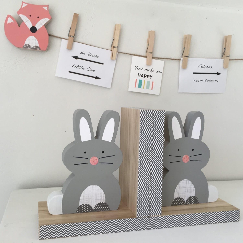 bunny bookends gray woodland nursery children u0027s bookends