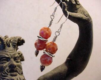 Facet cut Fire Polished Agate and Sterling Silver Dangel Earrings 15N73