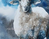 animal print nursery art print sheep picture sheep 11x14 Large sheep print art Lamb PRINT blue gray white grey little boys room decor dp