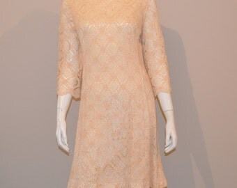 1950's Champagne Lace Fit with Flare Dress