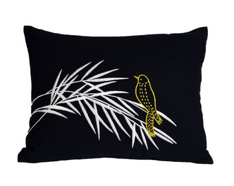Bird  Lumbar Pillow Cover, Decorative Pillow Cover,Navy Blue Pillow, Yellow Bird on Bamboo Embroidery, Cushion Cover, Couch Pillow
