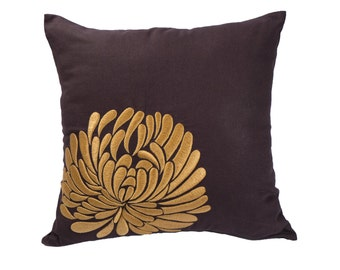 Throw Pillow Cover, Decorative pillow cover, Dark Brown Linen Pillow Ochre Flower, Embroidered, Floral Pillow Case, Couch Pillow, Cushion