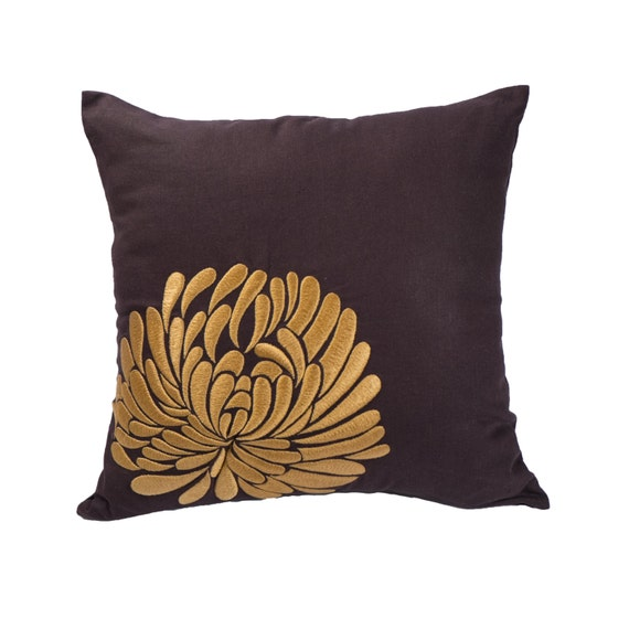 Throw Pillow Cover Decorative pillow cover Dark Brown Linen