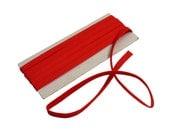 "7mm Wide Vintage Bundle of Double Fold Cotton Bias Tape Trim - Solid Scarlet Red (102"" / 2.8yds)"