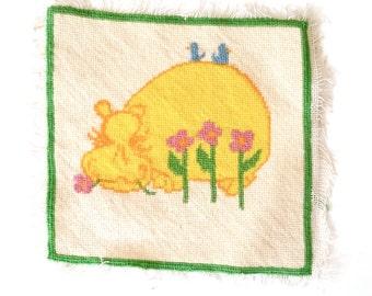 Mod Yellow Hippo. Handmade wool 1970's Bold