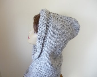 Hooded Cowl Teen/Adult  Chunky Knit Warm Wool Blend - Grey Marble - Ready to Ship - Direct Checkout