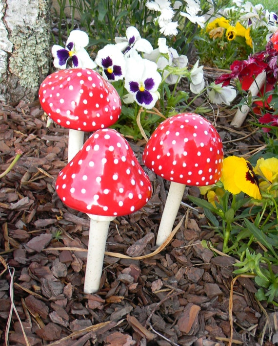 Ceramic Garden RED Mushroom Set of 3 Stakes Toadstools for your Enchanted Fairy or Gnome Garden poison Amanita muscaria fly agaric