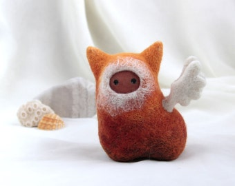 OOAK Orange caramel Winged Spirit - Needle felt art doll with ceramic face - Hand Made Eco-Friendly Home Decor by studio Vishnya