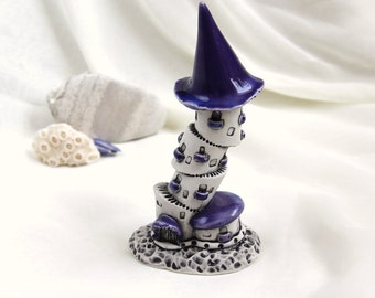 Purple lavender Gothic tower of tiny fairies - Hand Made Ceramic Eco-Friendly Home Decor by studio Vishnya