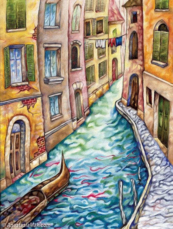 Venice Canal 5x7 Art Print by Anastasia Mak