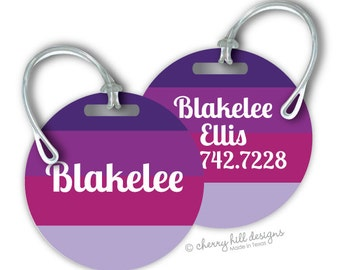 TOTES PURPLE Round premium bag tags - 4 inch - click on image to enlarge - seen in Parents magazine and Family Fun magazine
