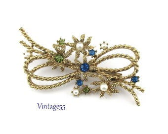 Brooch Sapphire Rhinestone Faux Pearl Rope Bow
