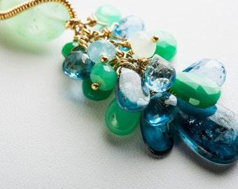 Geeta Tassel Necklace w/ Green and Blue Gemstones, OOAK
