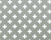 "Pair of Grey Swiss Cross Curtain Panels - Storm Gray and White - Home Decor Twill -  25"" or 50""  wide - You choose length"