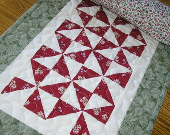 Quilted Table Runner / Pinwheel Table Runner, Dark Red and Green, 14 x 41 inches
