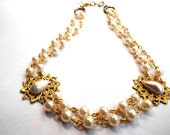 Adjustable Vintage Victorian Style Bridal Choker with faux glass pearls OOAK