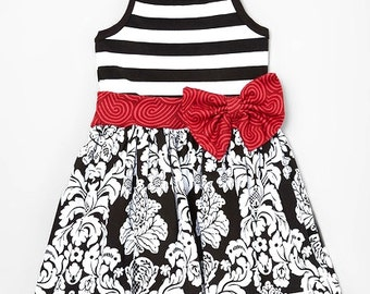 Girl's Trendy Dress Damask and Stripes  Sweet Boutique Style  size 6 months- 9/10 Summer Sale!