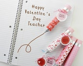 Valentine Chocolate Pencil and Tags- Teacher Appreciation Gift- Valentine theme Candy Wrap and Tags