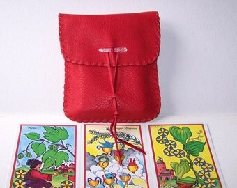 Leather Tarot Bag / Medicine Bag...Medium Vertical Flap.... RED