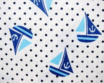 Cotton Fabric - Sailing Ships Fabric on White - Polka Dot Cotton Fabric By The Yard - Half Yard