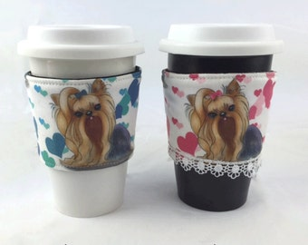 Coffee Cup Sleeve, Coffee Sleeve,  Cup Cozy, Coffee accessories, coffee cozy, Coffee lover gift, dog lover gift, Yorkie, Yorkshire terriers