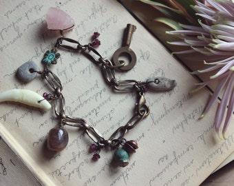 Gris Gris | Flower Moon. Rustic Bohemian Verdigris Nature Curio, Rose Quartz, Vintage Key Charm Bracelet.