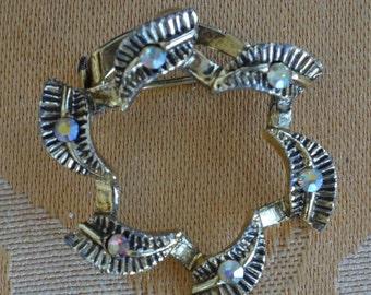 On Sale Delicate  Vintage Aurora Borealis Rhinestone Circle Brooch, Darkened Gold tone (I3)