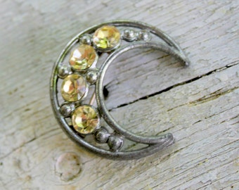 Art Deco MOON Brooch Pin Rhinestone Silver