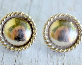 STERLING Silver Earrings Southwest Native American Stud Vintage Concho
