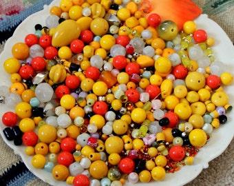 HUGE 1 Pound 2 oz Destash Bead Mix Vintage glass Plastic Yellow