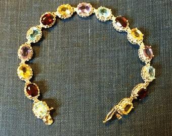 Vintage Sterling Silver Gemstone Bracelet Tennis Garnet Topaz Signed