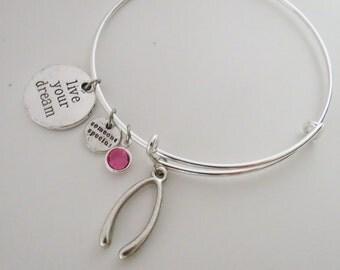 Wishbone Bangle with Birthstone and Charms, Friendship Bracelet, Birthstone Bracelet, Expandable Charm Bangle,Sisters Gift, Lucky Bracelet