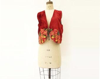 Ethnic Velvet Vest Vintage Embroidered 70s Velvet Waistcoat Red Velvet Vest Vintage Boho Vest Hand Embroidered Guatemalan Vest m
