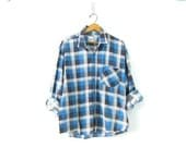 Vintage thin blue plaid flannel Worn In oversized shirt Faded grunge shirt Baggy tomboy Boyfriend shirt COED unisex Size XL