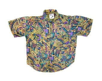 Abstract Print Graphic Shirt 90s Rayon Button Up Tshirt Vintage 80s Slouchy Short Sleeve Green Purple Blouse Retro Baggy Tee Medium Small
