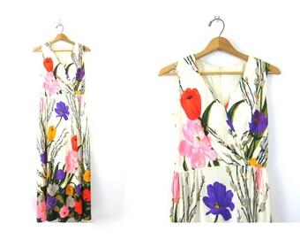 1960s Flower Print Dress Long White Maxi Dress Sleeveless Sun Dress Slip Floral Women's Size Small Medium