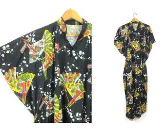 Vintage Kimono Dress Boho Ethnic Black Floral Asian Fan Graphic Bohemian Maxi Caftan Resort Vacation Wear Kaftan one size fits most OSFM