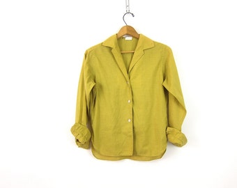 Button Up Women's Shirt Retro 1950s Yellow Green Dress Shirt Cuff Link Sleeves Top Button Down Shirt Thin Cotton Minimal Vintage Size Medium
