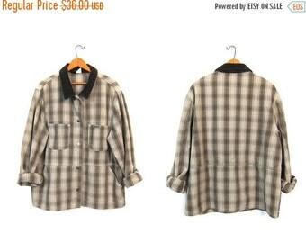 Brown Plaid Field Jacket Oversized Jean Jacket Chore Jacket Slouchy Shirt Vintage Work Coat Womens Barn Coat Medium Large