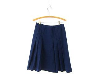 60s Navy Blue pleated Skirt Simple High Waist 1960s A Line Mod Knee Skirt Retro Plain Hipster Girl Louannes Vintage Womens size Small Medium