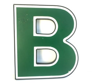 """Vintage Industrial Gren uppercase letter B Marquee ~B is for Bubble ~ Wall art vintage salvage 14"""" Tall"""