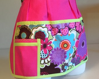 Pink and Purple Canvas Half-Apron