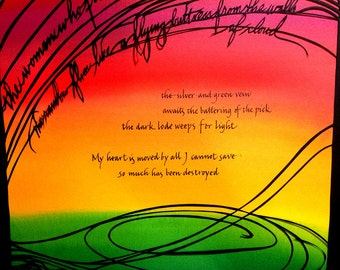 Close Ft Benning - Women Miners Reconstitute the World - Adrienne Rich quote - Papercut and calligraphy artwork